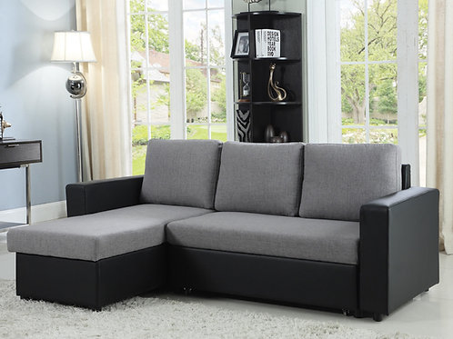 #008 EVERLY REVERSIBLE SLEEPER SECTIONAL GREY AND BLACK