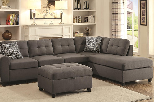 Stonenesse Grey Contemporary Sectional with Button Tufted Cushions/Ottoman