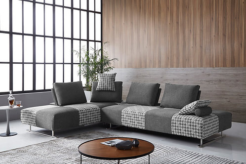 #035 Houndstooth Fabric Modular Sectional Sofa Bed