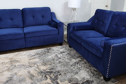 #002 NAVY BLUE SOFA & LOVESEAT