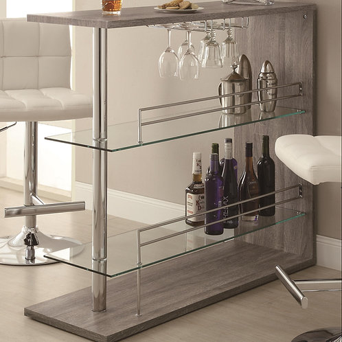 #009Bar Units and Bar Tables Rectangular Bar Unit with 2 Shelves and Wine Holder