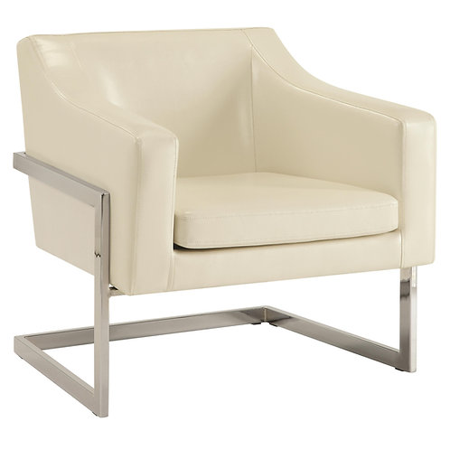Accent Seating Contemporary Accent Chair in Grey Linen-Like Fabric with Exposed