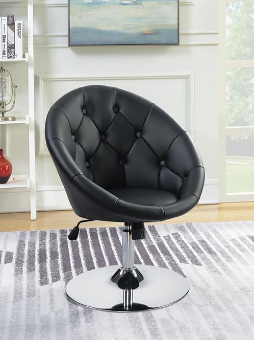 #005 ROUND TUFTED SWIVEL CHAIR BLACK