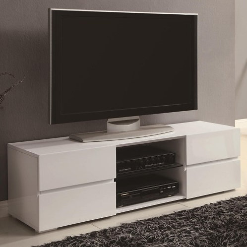 TV Stands High Gloss White TV Stand with Glass Shelf