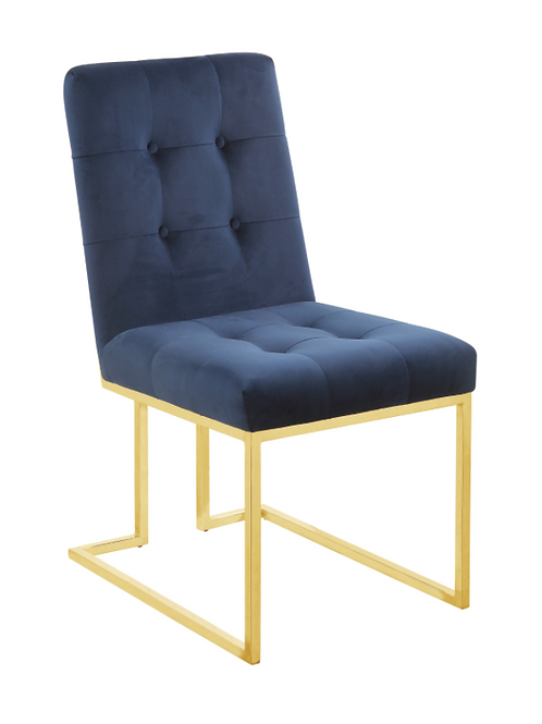 #004 SIDE CHAIRS BLUE CHROME OR GOLD