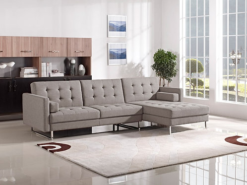 #037 Brown Fabric Sectional Sofa Bed