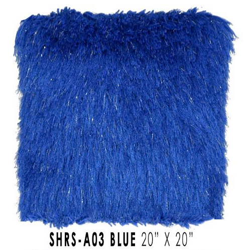 Ribbon Shaggy Throw Pillow Blue