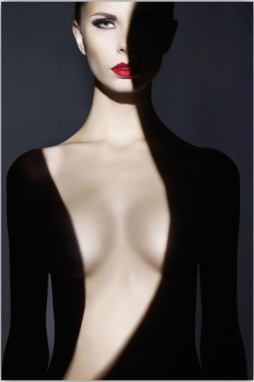 Red Lip Woman In Shadows Glass Wall Art