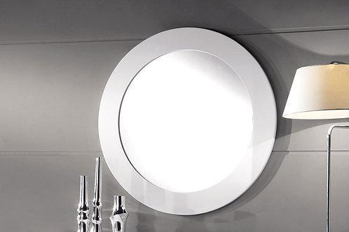 White Lacquer Round Mirror
