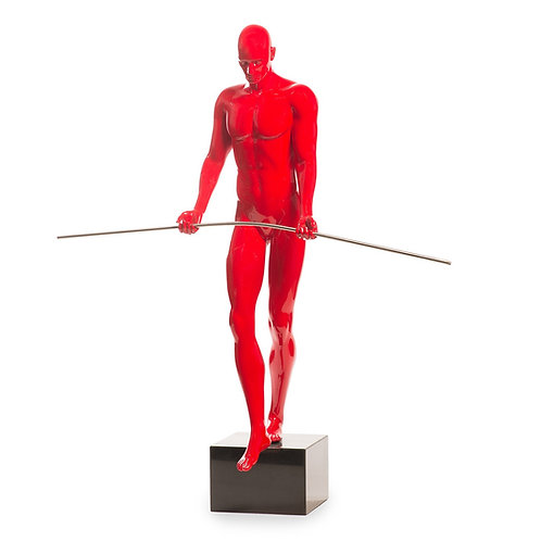 Balancing Man Sculpture- Red