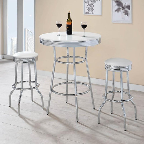 1950s RETRO STYLE ROUND COUNTER HEIGHT SET-2BAR STOOL