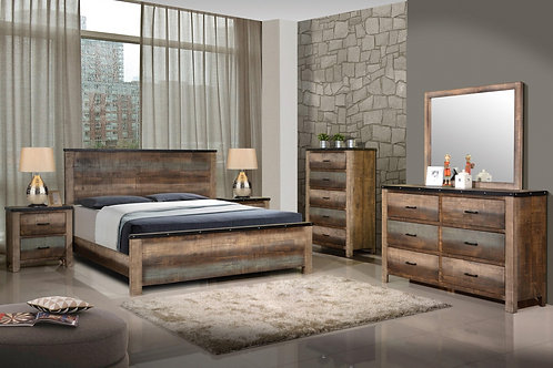 #017 Sembene Rustic Bed with Nailhead Accents