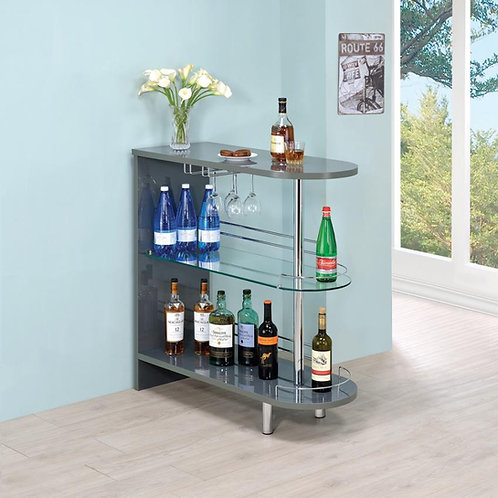 #029 BAR TABLE GLOSSY GREY AND CLEAR