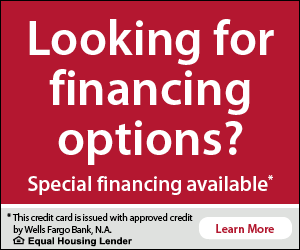 Looking for financing options? Special financing available. This credit card is issued with approved credit by Wells Fargo Bank, N.A. Equal Housing Lender. Learn more.