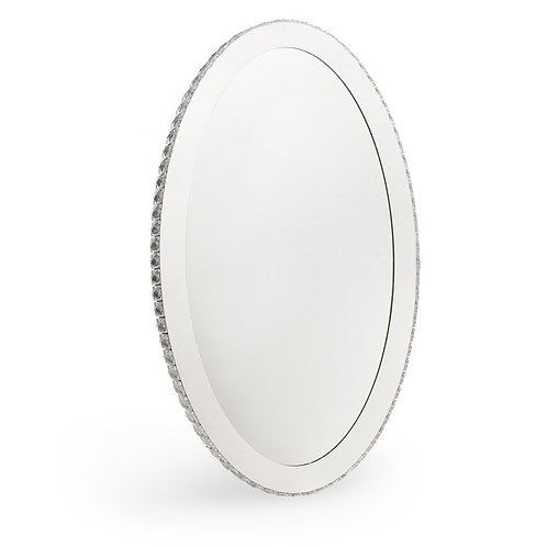 Crystal and Steel- Led Light Mirror- Oval