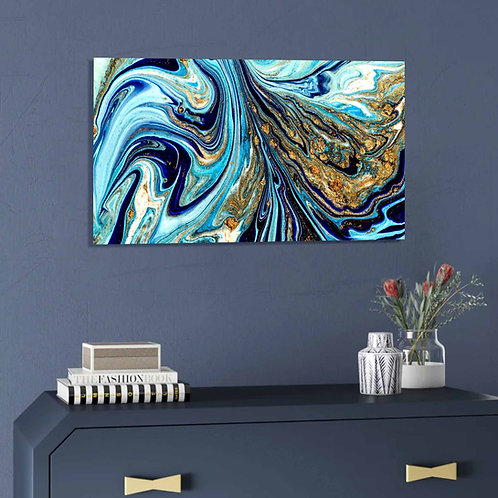 #072 BLUE AND GOLD ABSTRACT GLASS WALL ART