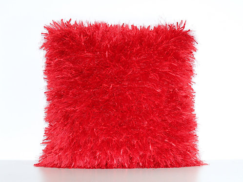 Ribbon Shaggy Throw Pillow Red