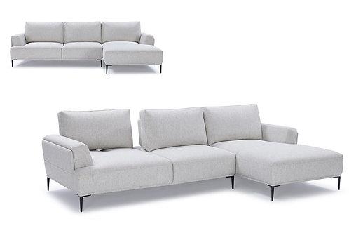 #013 Divani Casa Hero Modern Grey Fabric Sectional Sofa w/ Right Facing Chaise