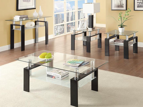 #006 BLING TEMPERED GLASS COFFEE TABLE & SOFA TABLE SET 2PCS