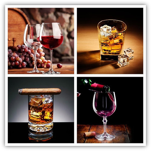 4PC Whiskey & Wine Glass Wall Art