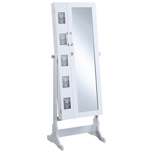 Accent Mirrors White Jewelry Cheval Mirror with Picture Frames