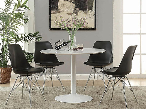 #013 LOWRY COLLECTION DINING SET /W 4 CHAIRS BLACK OR WHITE