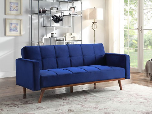 #009 BLUE SOFABED WITH WOOD LEG