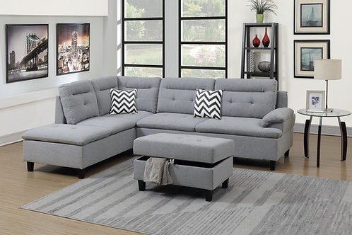 #020 SECTIONAL 3 PCSW/2 ACCENT PILLOWS