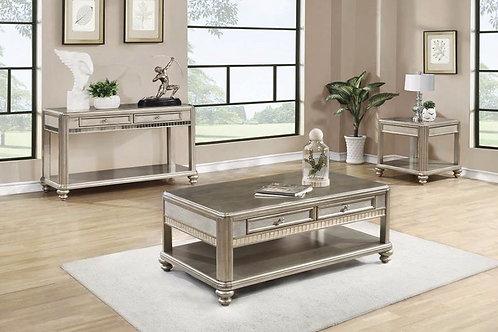 Metallic Platinum Coffee Table Set
