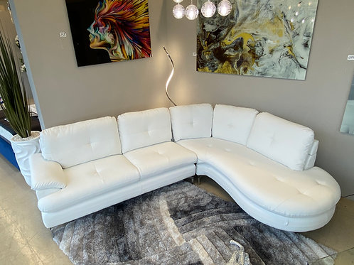 #027 WHITE LEATHER SECTIONAL