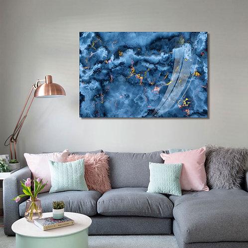 #091 GLASS WALL ART ABSTRACT BLUE