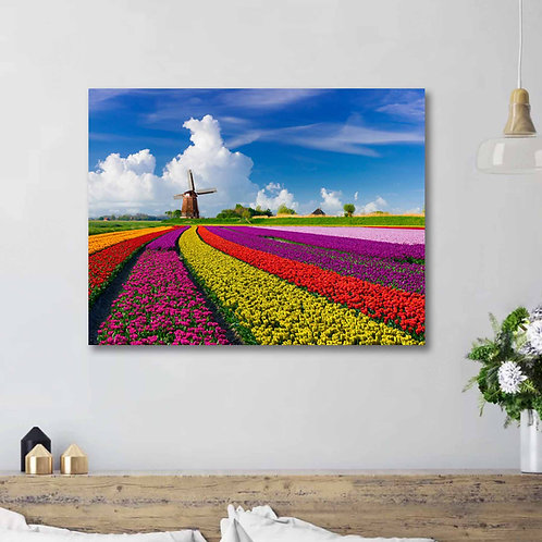 #087 TULIPS IN HOLLAND GLASS WALL ART