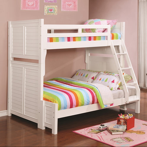 Edith Louvered White Twin over Full Bunk Bed