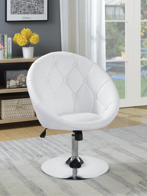 #006 ROUND TUFTED SWIVEL CHAIR WHITE