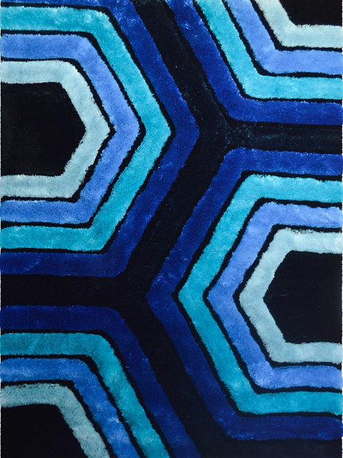 #011 BLUE SHADES HEXAGON PATTERN