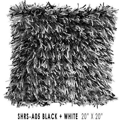 Shaggy Lurex Throw Pillow Black & White