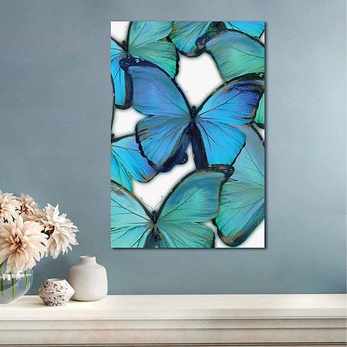 #067 BLUE BUTTERFLIES GLASS WALL ART