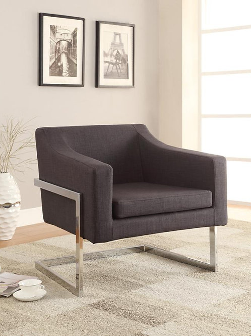 #009 UPHOLSTERED ACCENT CHAIR CHROME AND GREY