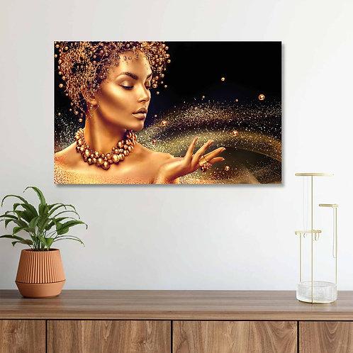 #084 WOMEN WITH GOLD MAKEUP GLASS WALL ART