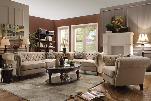 Trivellato Traditional Button Tufted Sofa with Loveseat