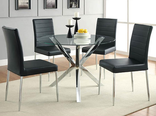 #016 VANCE DINING SET W/4 CHAIRS BLACK OR WHITE