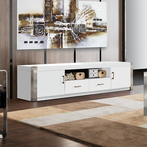 #016 TV STAND IN WHITE LACQUER