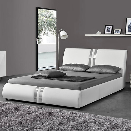 #079 WHITE QUEEN BED WITH SILVER LINES