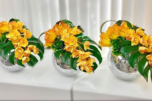 #004 SET 3PCS YELLOW ORCHIDS
