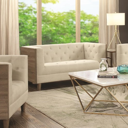 Fairbanks Tuxedo Sofa with Button Tufting and Weathered Wood & Loveseat