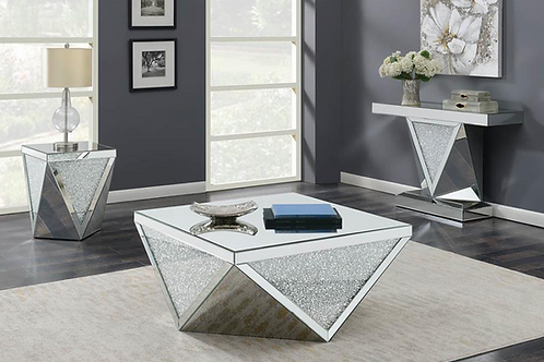 #003 TRIANGLE COFFEE TABLE & END TABLE SET 2 PCS