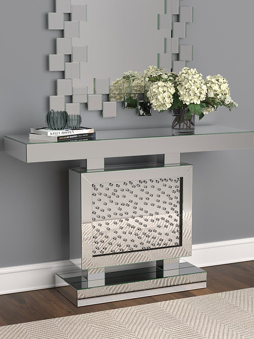 #024 RECTANGULAR CONSOLE TABLE & MIRROR WITH DECORATIVE SQUARES