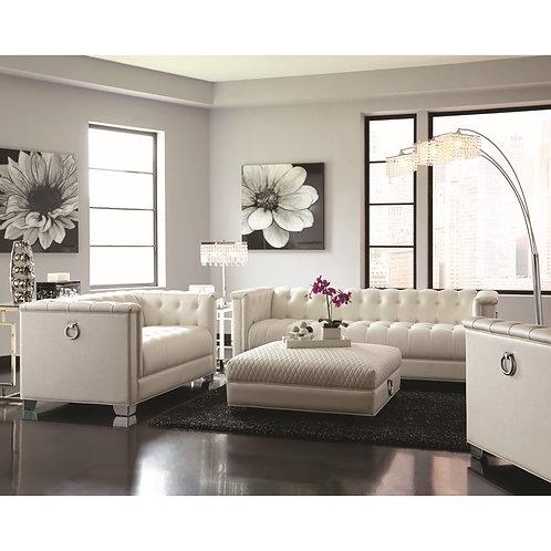 Chaviano Low Profile Pearl White Tufted Sofa/Low Profile Pearl White Tufted Love