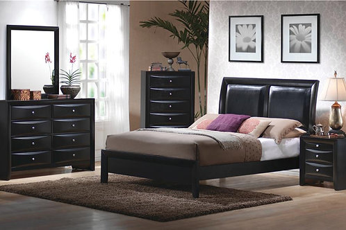 Briana Queen Low Profile Footboard Bed with Upholstered Panel Headboard
