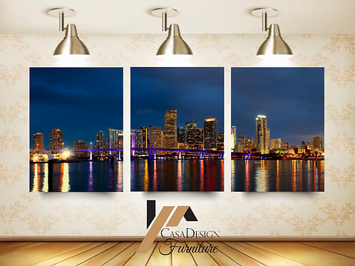 #088 MIAMI CITY NIGHT GLASS WALL ART